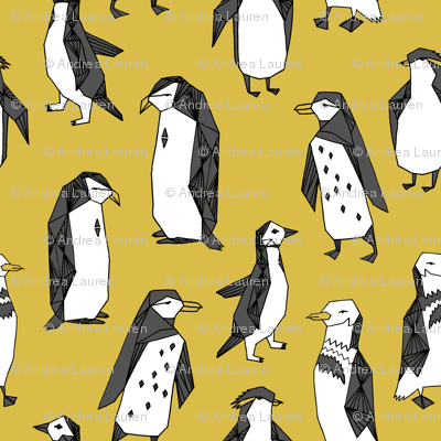 penguins // mustard penguin yellow penguin bird birds antarctic nursery baby kids winter