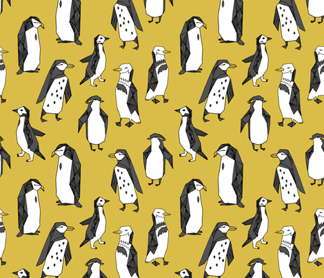 penguins // mustard penguin yellow penguin bird birds antarctic nursery baby kids winter fabric by andrea_lauren on Spoonflower - custom fabric