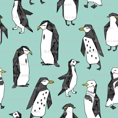 penguin fabric // mint penguin pingu penguins antarctic birds bird animals mint fabric