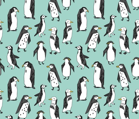 Rhuddle_of_penguins_pale_turquoise_shop_preview