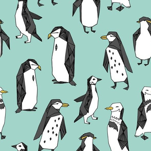 penguin fabric // mint penguin pingu penguins antarctic birds bird animals mint fabric