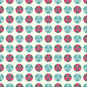 red and blue retro flowers