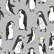 penguins // grey penguin winter bird birds nursery baby grey kids