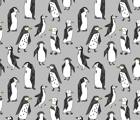 penguins fabric // grey penguin winter bird birds nursery baby grey kids  fabric by andrea_lauren on Spoonflower - custom fabric