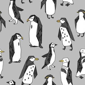 penguins // grey penguin winter bird birds nursery baby grey kids