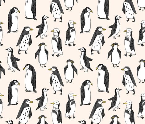 penguins // off-white champagne penguins penguin bird antarctic white soft ice winter fabric by andrea_lauren on Spoonflower - custom fabric