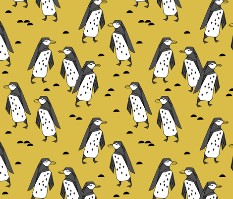 penguins //  penguin mustard yellow bird birds winter antarctic kids animals fabric by andrea_lauren on Spoonflower - custom fabric