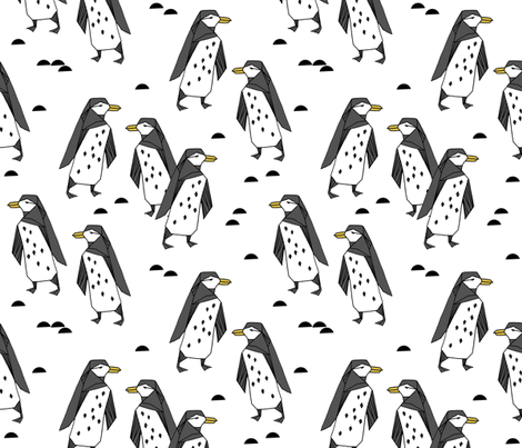 penguins // white bird birds winter antarctic kids  fabric by andrea_lauren on Spoonflower - custom fabric