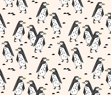 penguins // champagne cream birds bird penguin black and cream kids fabric by andrea_lauren on Spoonflower - custom fabric