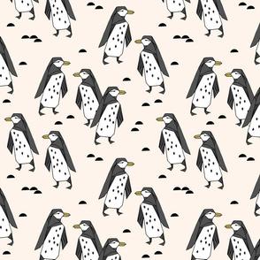 penguins // champagne cream birds bird penguin black and cream kids