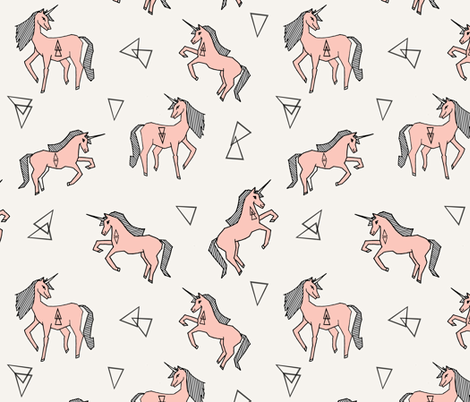 unicorn fabric - unicorn girls pink cute girls magical pink unicorn fabric by andrea_lauren on Spoonflower - custom fabric