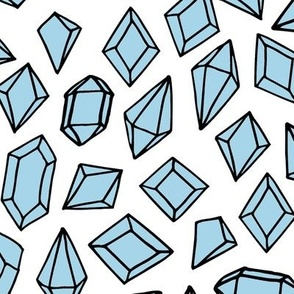 crystals // pastel blue gemstones gem fabric cute geodes fabric
