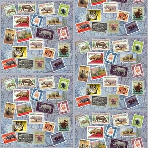 Rhino Postage Stamp Collage