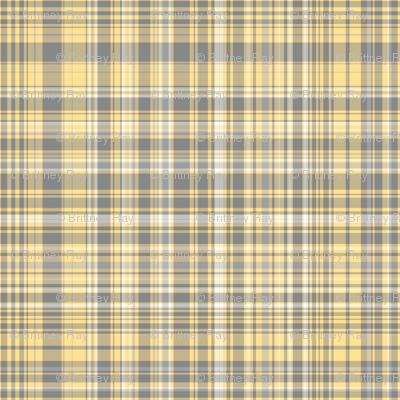 Gray Amp Yellow Plaid Fabric Pond Ripple Spoonflower