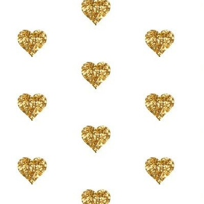 Small Hearts in Gold Glitter
