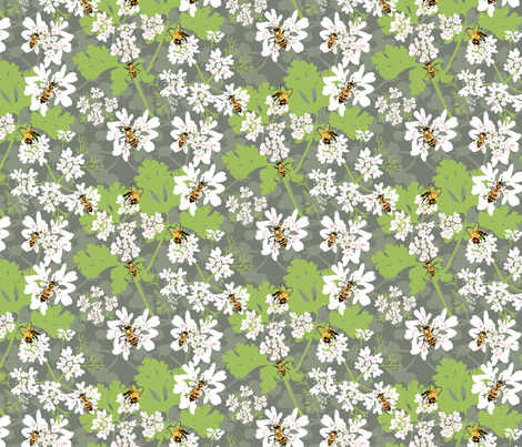 Coriander and Bees fabric by vinpauld on Spoonflower - custom fabric
