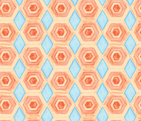 warm orange and cool blue tile  fabric by megancarroll on Spoonflower - custom fabric