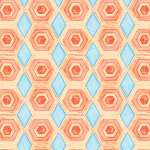 warm orange and cool blue tile