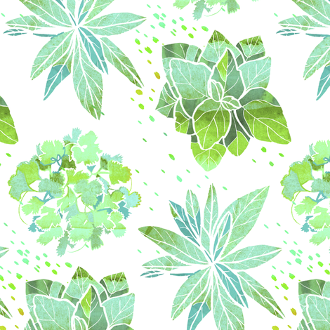 Watercolor Herbs fabric by emilysanford on Spoonflower - custom fabric