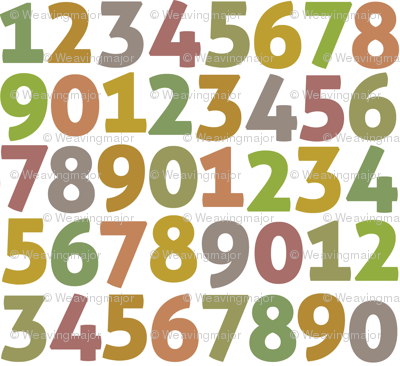 vintage digits on white