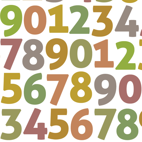 vintage digits on white fabric by weavingmajor on Spoonflower - custom fabric