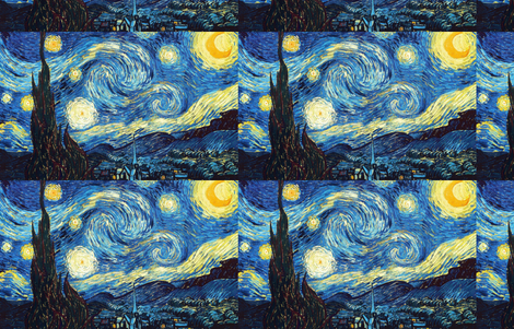 The Starry Night Vincent Van Gogh fabric by fancy_pantsy on Spoonflower - custom fabric