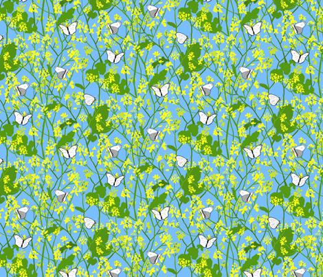 Mustard and Cabbage Moths fabric by vinpauld on Spoonflower - custom fabric