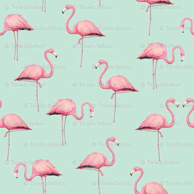 Pink Flamingo Flock On Mint Fabric Trinetollefsen