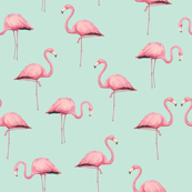 Pink Flamingo Flock on Mint