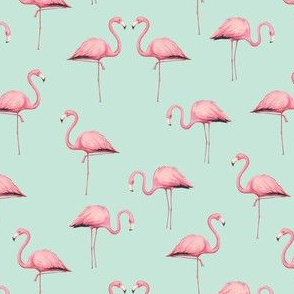 Pink Flamingo Flock on Mint