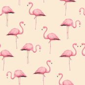 Pink Flamingo Flock on Peach
