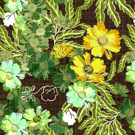 Nostalgic Floral in green  fabric by joanmclemore on Spoonflower - custom fabric