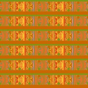 Orange and Green Patterned Stripe