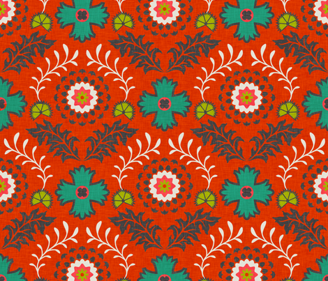 brocade_vintage_orange fabric by holli_zollinger on Spoonflower - custom fabric