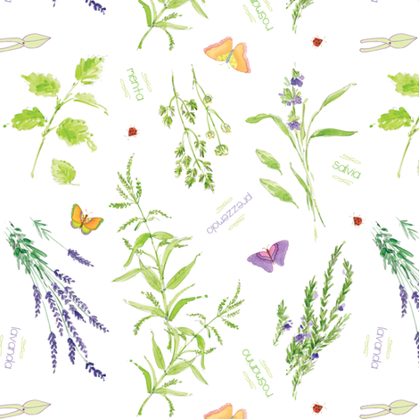Erbe di Giardino - White fabric by studioalex on Spoonflower - custom fabric
