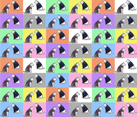 dogs with jackets and dresses with colorful blocks background fabric by vinkeli on Spoonflower - custom fabric