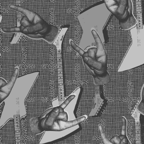 Let`s rock black and white fabric by susiprint on Spoonflower - custom fabric