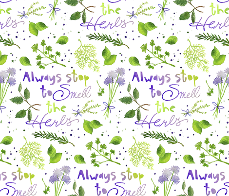 Always stop to smell the herbs fabric by karismithdesigns on Spoonflower - custom fabric
