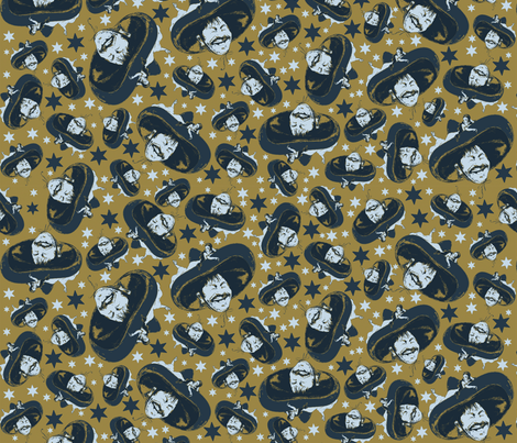 Mexico on  mustard fabric by susiprint on Spoonflower - custom fabric