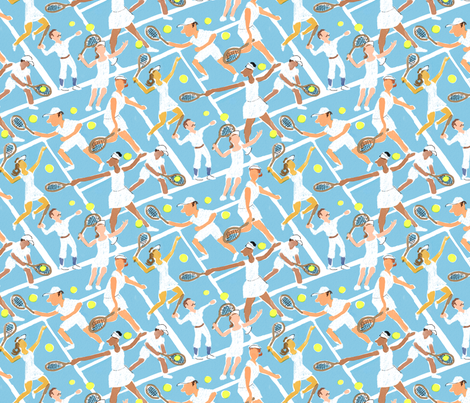 Tennis Whites Watercolor fabric by vinpauld on Spoonflower - custom fabric