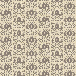 ikat flower - sand and taupe