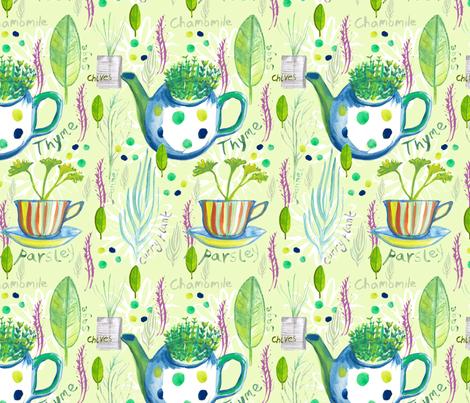 A Handful of Herbs fabric by slumbermonkey on Spoonflower - custom fabric