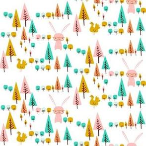 Retro bunny rabbit and trees