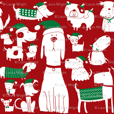 dogs - christmas - red