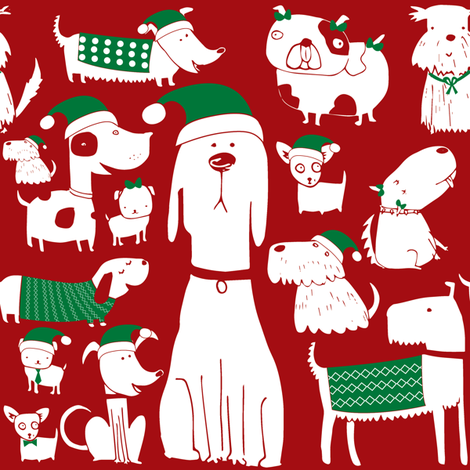 dogs - christmas - red fabric by laurawrightstudio on Spoonflower - custom fabric