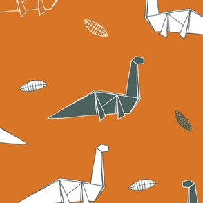 origami dinosaurs - orange