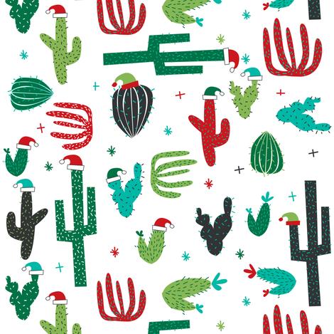 christmas cactus on white fabric by laurawrightstudio on Spoonflower - custom fabric