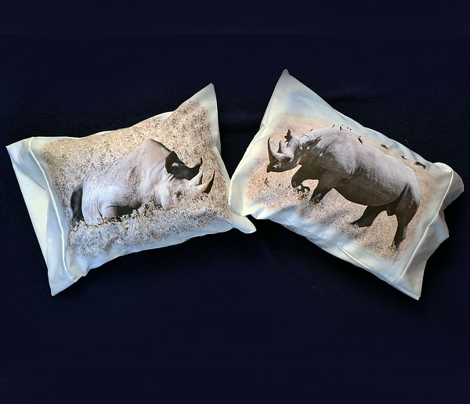 3 RHINOCEROS pillowcases