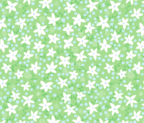 fleur 1 green fabric by jenniferpanepinto on Spoonflower - custom fabric