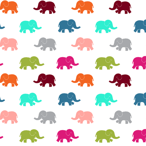 colorful elephant reduced fabric by lpt-workshop on Spoonflower - custom fabric